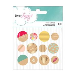 DL - Documentary - Gold Foil - Wood Buttons 12 Piece