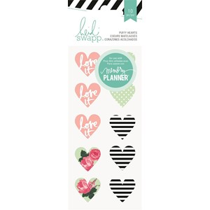 Stickers - HS - Hello Beautiful - Puffy - Hearts 10 Piece