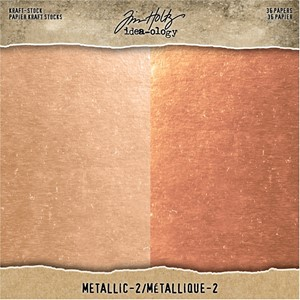 Tim Holtz Kraft-Stock 8x8 Inch Metallic 2 Rose Gold & Copper