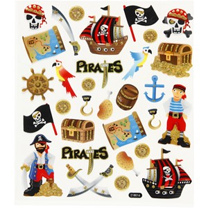 Pirater, Stickers, ark 15x16,5 cm, 1 ark