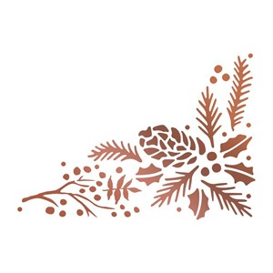 Highland Christmas Hotfoil Stamp Pinecone Corner (CO726305)S