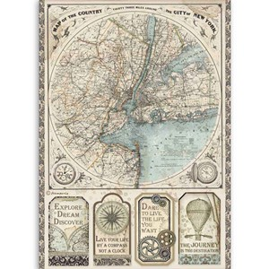 """Stamperia Rice Paper A4 Sir Vagabond Map of New York (DFSA4"