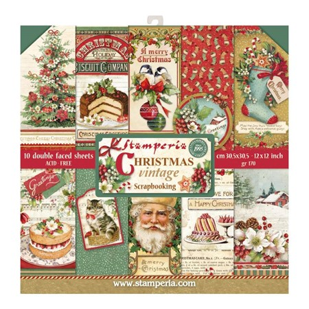 Stamperia Christmas Vintage 12x12 Inch Paper Pack (SBBL45)