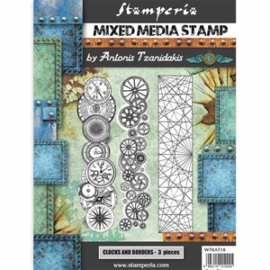 """Stamperia Mixed Media Stamp Sir Vagabond Steampunk Borders"