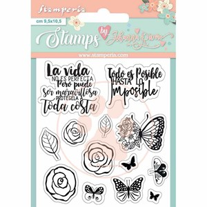 """Stamperia Circle of Love Roses and Butterfly Clear Stamps ("