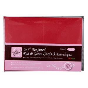 """5x7""""""""""""""""""""""""""""""""  Textured Card/Envelope 50Pk - Red  Gre"
