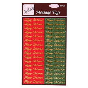 Message Tags - Happy Christmas 28pcs Red  Green