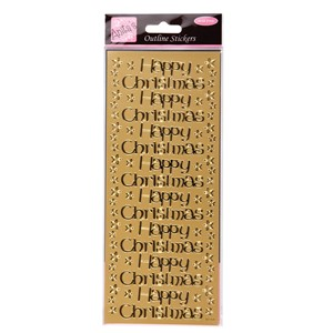 Outline Stickers - Large Happy Christmas Gold