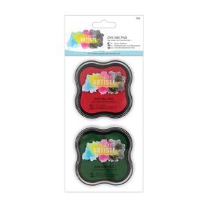 Dye Ink Pad 2pk - Red and Green