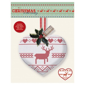 Cross Stitch Heart Kit - Christmas in the Country - Stag