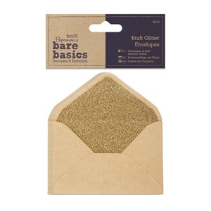 14 x 10cm Kraft Glitter Envelopes 4pcs
