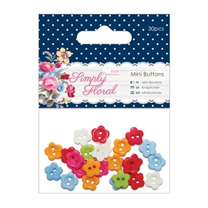 Mini Flower Buttons 30pcs - Simply Floral