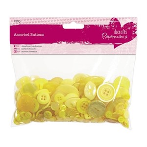 Assorted Buttons 250g - Yellow