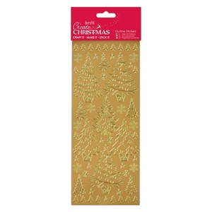 Outline Stickers - Christmas Trees - Gold