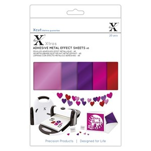 Xcut Xtras A5 Adhesive Metal Effect Sheets (20pcs) - Pinks