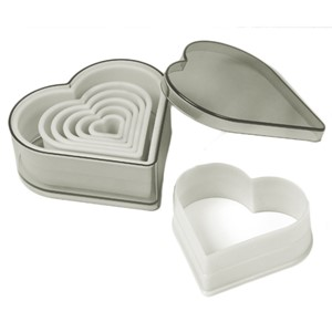 Nylon Cutter Set, Boxed, Heart, 7 pc set    UTGÅR