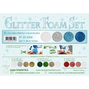 Glitter Foam Set 3, 4 different glitter foam sheets A4 blue