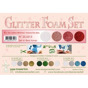 Glitter Foam Set 4, 4 different glitter foam sheets A4 red /