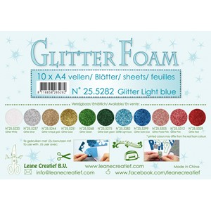 10 Glitter foam sheets A4 Glitter Light Blue