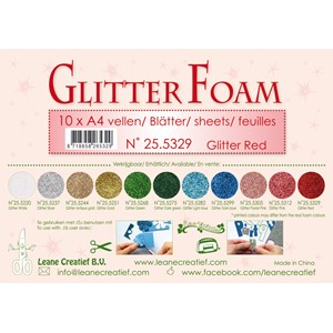 10 Glitter foam sheets A4 Glitter Red