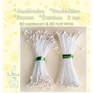 Stamen 2mm,  80 matt & 80 pearl White