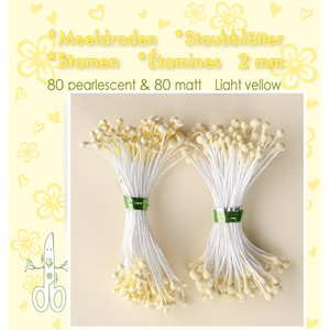 Stamen 2mm,  80 matt & 80 pearl Light Yellow