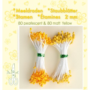Stamen 2mm,  80 matt & 80 pearl Yellow