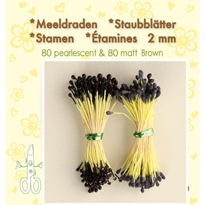 Stamen 2mm,  80 matt & 80 pearl Brown