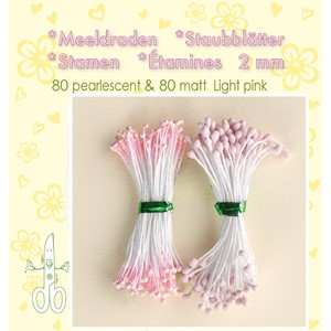 Stamen 2mm,  80 matt & 80 pearl Light Pink