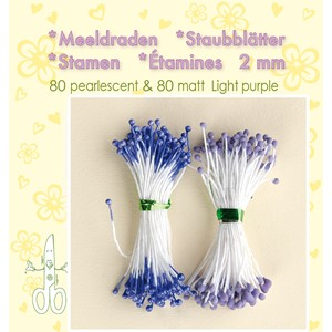 Stamen 2mm,  80 matt & 80 pearl Light Purple