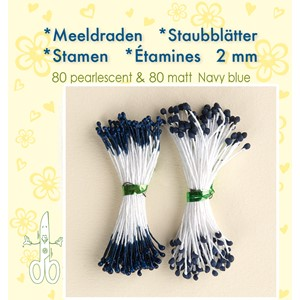 Stamen 2mm,  80 matt & 80 pearl Navy Blue