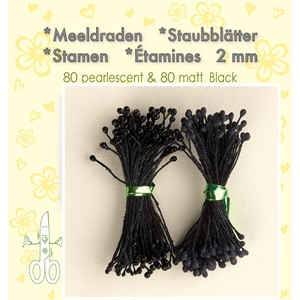 Stamen 2mm,  80 matt & 80 pearl Black