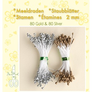Stamen 2mm,  80 matt & 80 pearl Gold & Silver