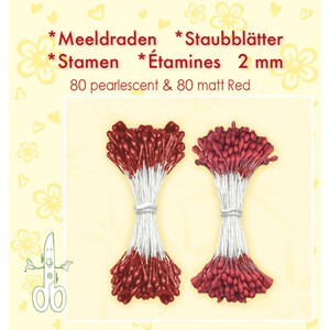 Stamen 2mm,  ±80 matt & 80 pearl Red