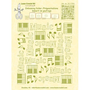 Embossing folder background Music  14.4x16cm