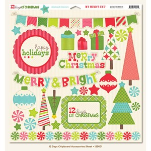 Chipboard Accessories Sheet, 12 days of chrismas