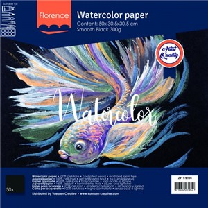 Watercolor paper smooth Black 300g 30.5x30.5cm 50sheets