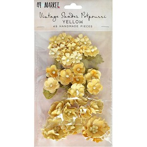 Yellow, Vintage Shades Potpourri paper flower, 49th