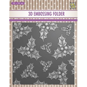 EF3D014 3D Embossing folder holly leaves & berries