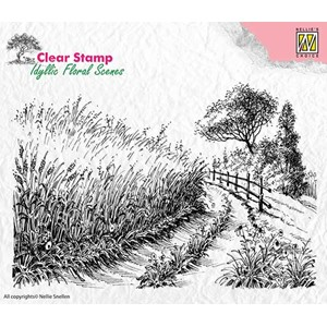 Clear Stamps idyllic floral scene Cornfield and country road
