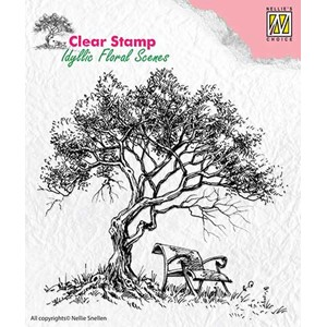 Clear Stamps idyllic floral scene Tree with bench
