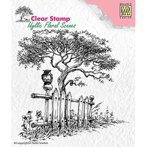 Clear Stamps idyllic floral scene Tree with fence