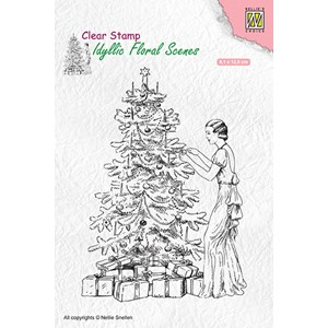 Idyllic floral scenes clear stamp Vintage Christmas