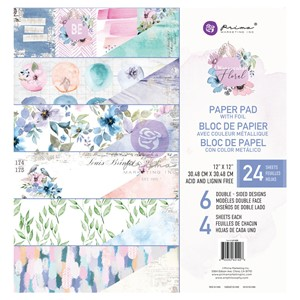 """Prima Marketing Watercolor Floral 12x12 Inch Paper Pad (651"