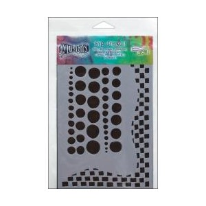 Dylusions Stencil, Chequered Dots 5x8