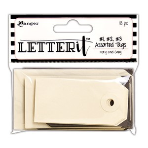 Letter It Tag Assortment 18 Pack - 3 each of 1, 2 & 3 In Gre