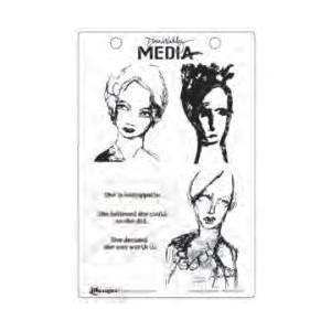 Dina Wakley Media Cling Stamps, Scribbly Women