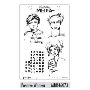 Dina Wakley Media Cling Stamps - Positive Women
