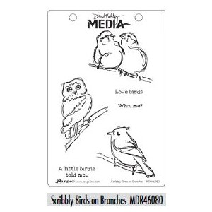 Dina Wakley Media Cling Stamps - Scribbly Birds on Branches