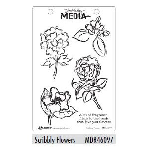 Dina Wakley Media Cling Stamps - Scribbly Flowers